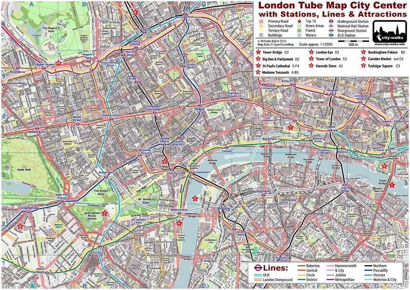 central london tube map with streets