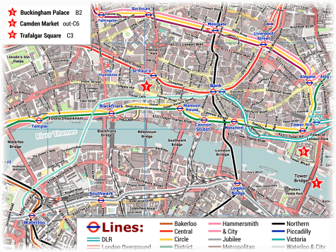 London PDF Maps with Attractions & Tube Stations