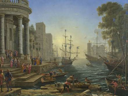Seaport with the Embarkation of Saint Ursula by Claude Gellée