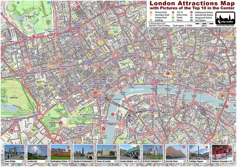 London Attractions Map PDF Printable on A4 and A3 – Printable Tourist Map Of London Attractions