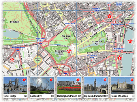 Map Of London With Famous Landmarks.London Pdf Maps With Attractions Tube Stations