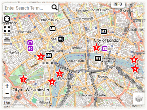 Map Of London With Famous Landmarks.London Tourist Map For Sightseeing Interactive