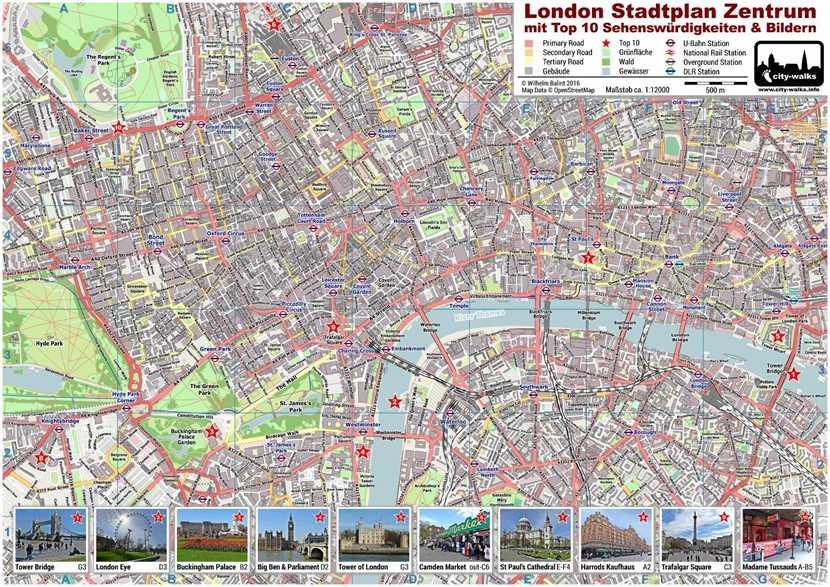 karte von london London PDF Stadtplan mit Top 10 Sehenswürdigkeiten