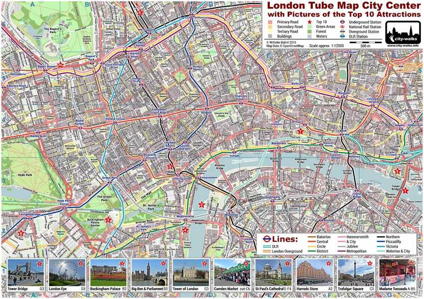 london tube map with top 10 attractions