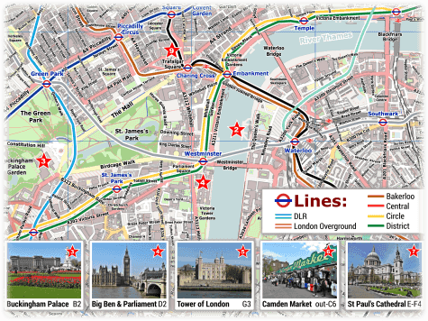 City Of London On Map.London Pdf Maps With Attractions Tube Stations