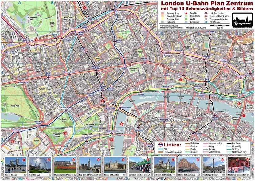 London U-Bahn Plan Sehenswürdigkeiten
