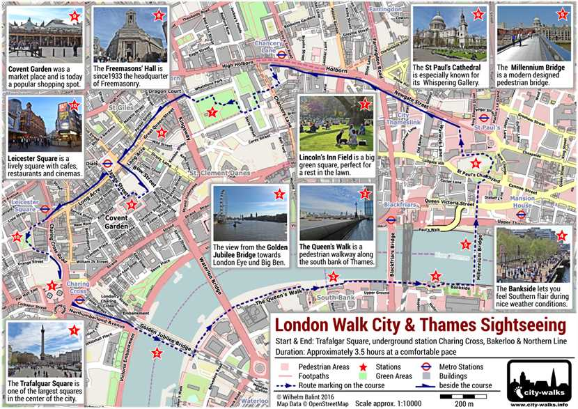 London Walk City Thames Sightseeing Free PDF Map