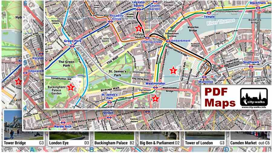 London Map Attractions.London Attractions Map Pdf Printable On A4 A3