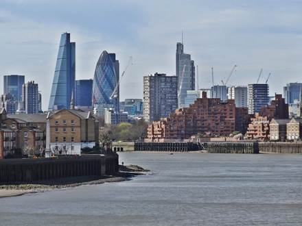 River Thames with London Skyline