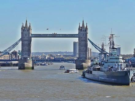 Sight from London Bridge at Tower Bridge