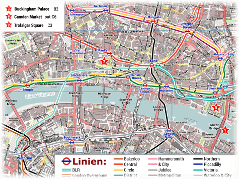 U-Bahn Plan London Zentrum