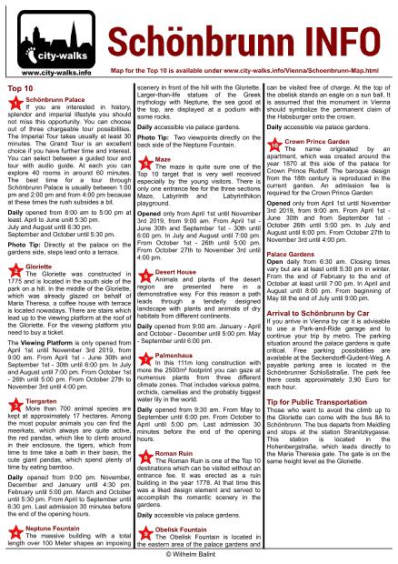 Schönbrunn Facts Sheet
